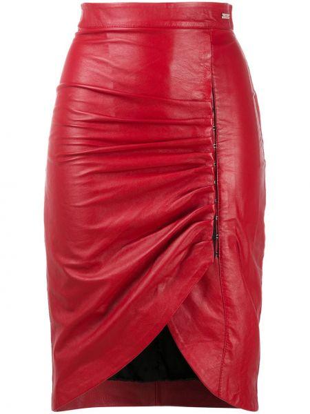 Красная кожаная юбка с оборками John Richmond