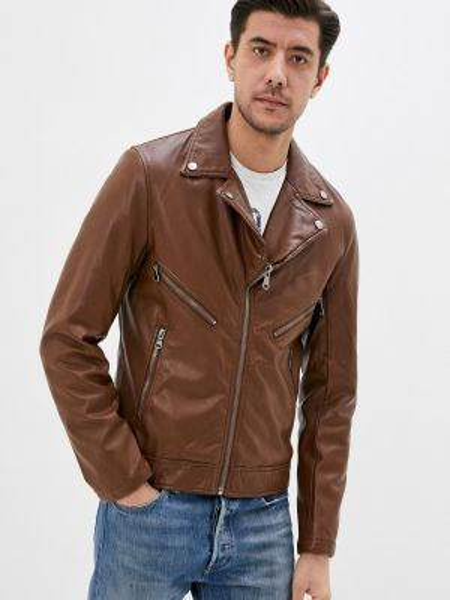 Коричневая кожаная кожаная куртка Jackets Industry