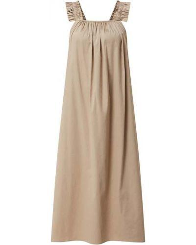 Beżowa sukienka midi rozkloszowana z falbanami Levete Room