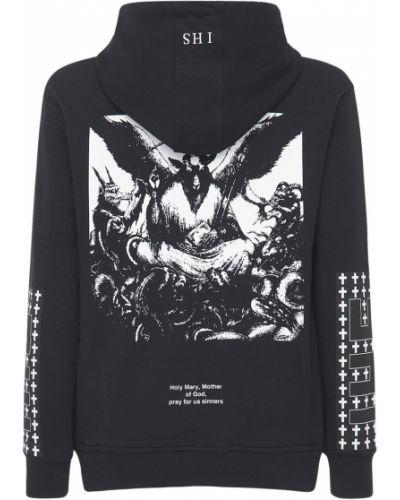 Czarna bluza z kapturem bawełniana Ihs
