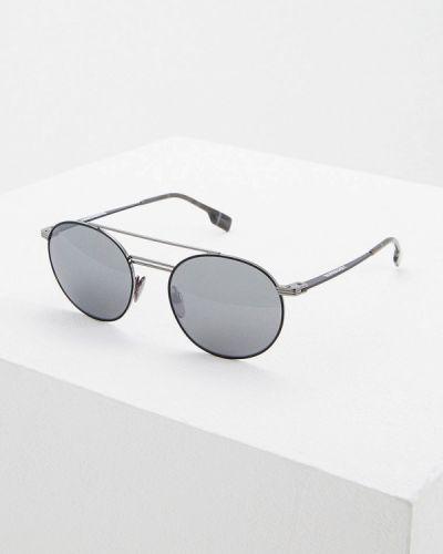 Солнцезащитные очки черные круглые Burberry