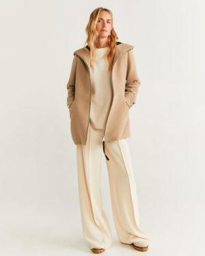 Пальто с капюшоном бежевое шерстяное Mango