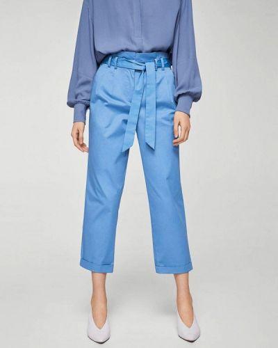 Голубые брюки прямые Mango