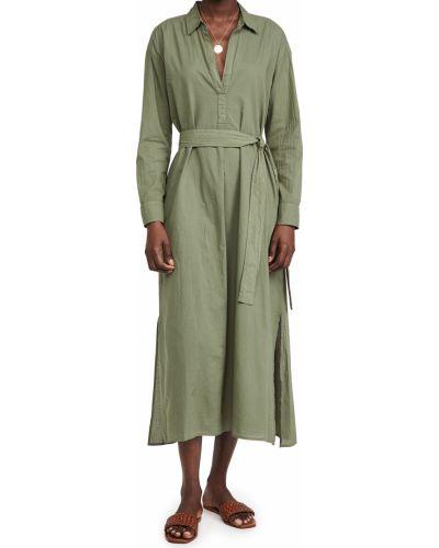Зеленое платье макси с длинными рукавами с поясом Xírena