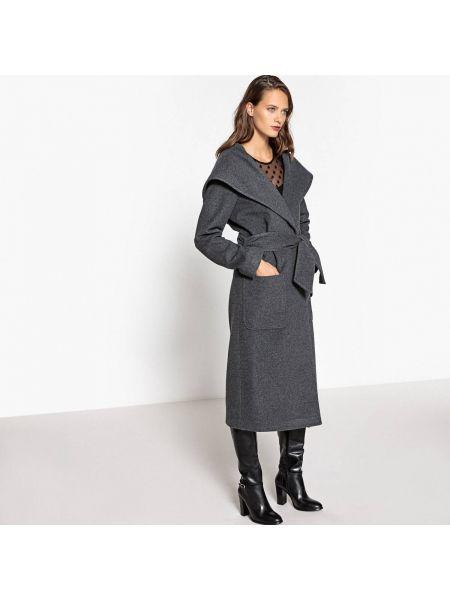 Пальто с капюшоном длинное шерстяное La Redoute Collections
