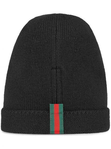 Czarny kapelusz wełniany Gucci