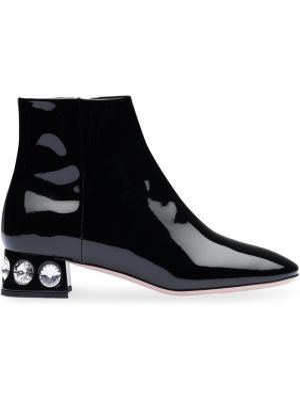Czarne ankle boots skorzane Miu Miu