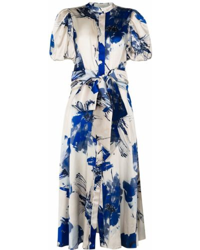 Шелковое синее платье миди с воротником с короткими рукавами Silvia Tcherassi