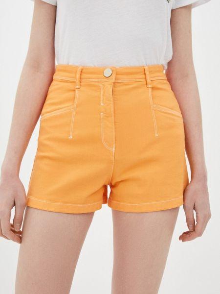 Оранжевые джинсовые шорты со стразами Patrizia Pepe