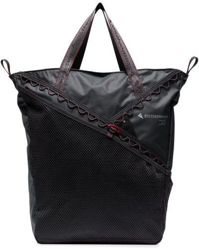 Льняная с ремешком серая сумка-тоут свободного кроя Klättermusen