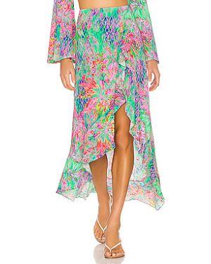 Нейлоновая розовая юбка с оборками на резинке Luli Fama