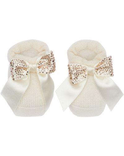 Biały wełniany skarpetki na gumce La Perla