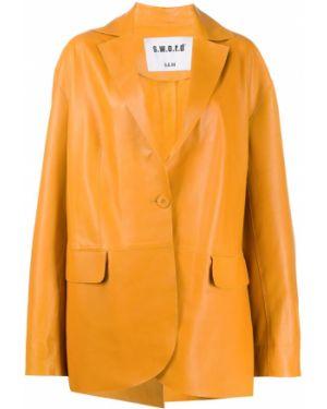Желтый кожаный пиджак оверсайз S.w.o.r.d 6.6.44