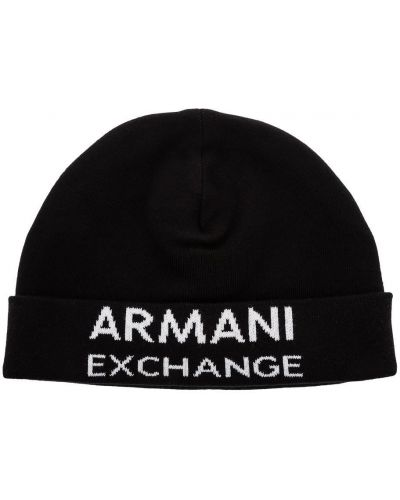 Шапка черная с логотипом Armani Exchange