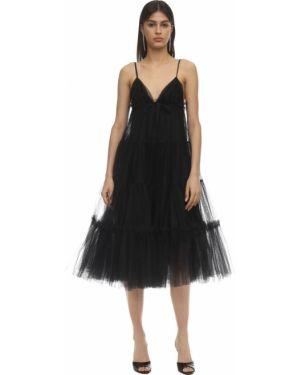 Платье миди из фатина с декольте на бретелях на молнии Brognano