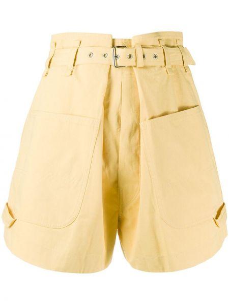 Однобортные желтые шорты с карманами Isabel Marant