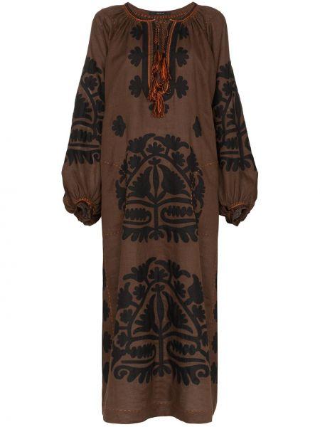 Льняное платье с вышивкой на шнуровке с вырезом Vita Kin