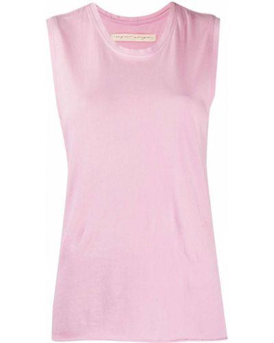 Хлопковый розовый топ без рукавов с круглым вырезом Raquel Allegra