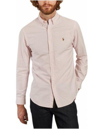 Różowa koszula oxford w paski z długimi rękawami Polo Ralph Lauren