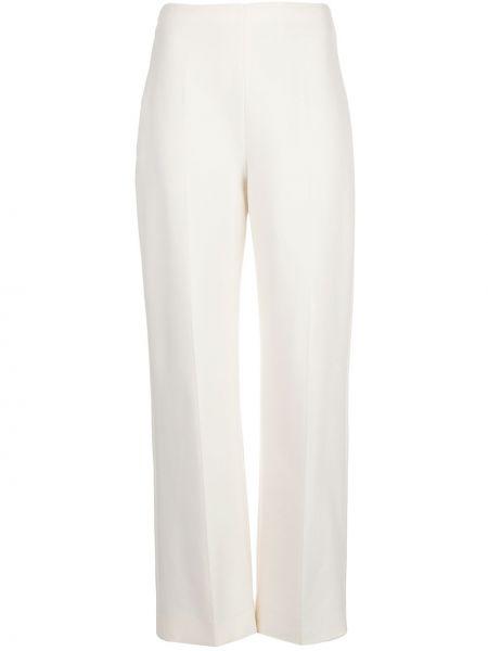 Шерстяные прямые брюки с высокой посадкой на молнии Oscar De La Renta