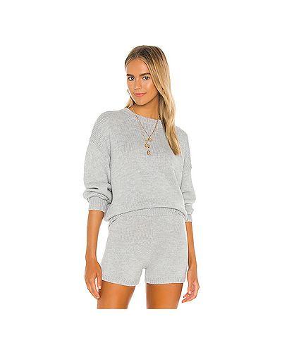 Серый акриловый вязаный свитер с воротником Majorelle