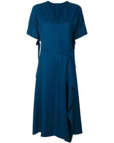 Синее платье с запахом Cédric Charlier