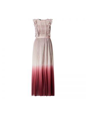 Różowa sukienka wieczorowa rozkloszowana z falbanami Apart Glamour
