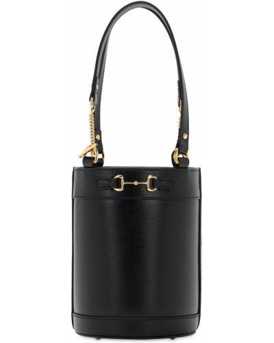 Z paskiem bawełna skórzany czarny mini torebka Gucci