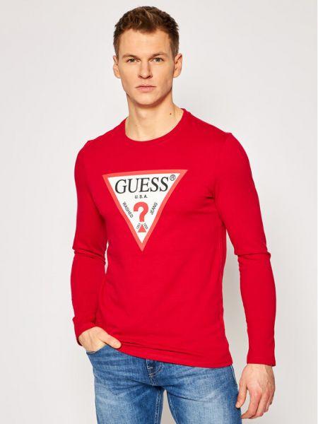 Czerwony koszulka z długim rękawem Guess