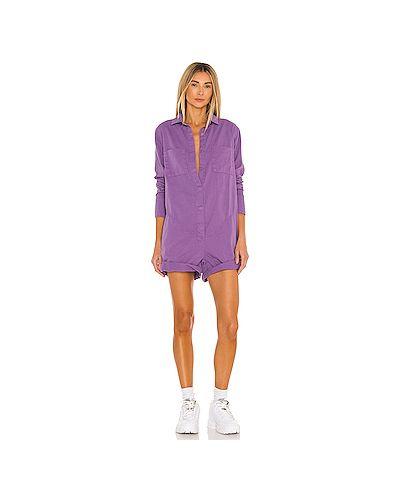 Фиолетовый хлопковый комбинезон с карманами One Teaspoon