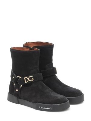 Замшевые ботильоны - черные Dolce & Gabbana Kids