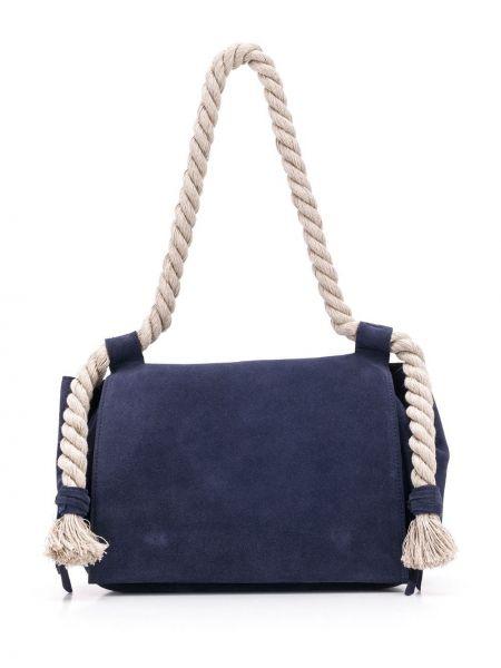 Кожаная синяя сумка-тоут Elena Ghisellini