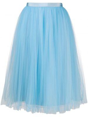 Prążkowana niebieska spódnica midi tiulowa Delpozo