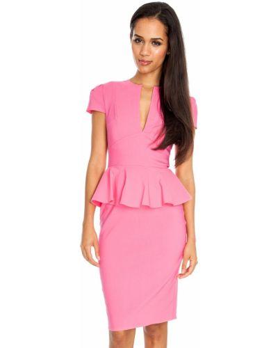 Розовое вечернее платье без рукавов с круглым вырезом City Goddess