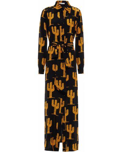 Текстильное черное платье макси на пуговицах Bella Freud