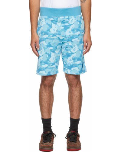 Синие махровые шорты Bape