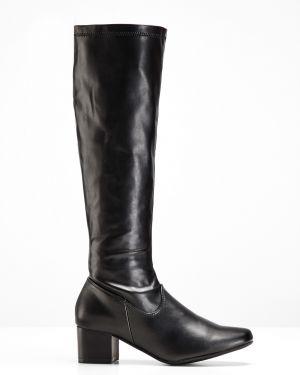 Кожаные сапоги сапоги-чулки черные Bonprix