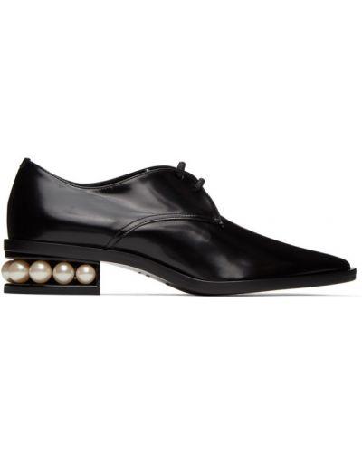 Кожаные черные оксфорды на каблуке Nicholas Kirkwood