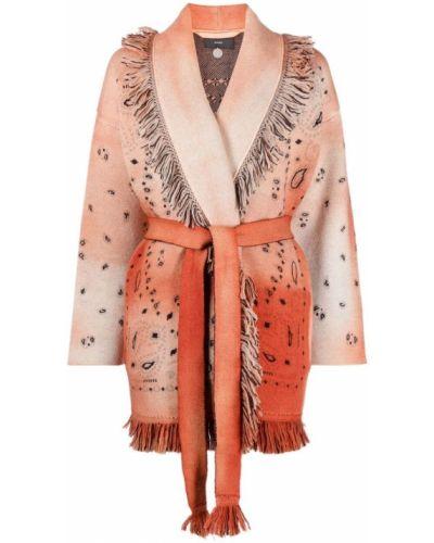 Оранжевое шерстяное длинное пальто с лацканами Alanui