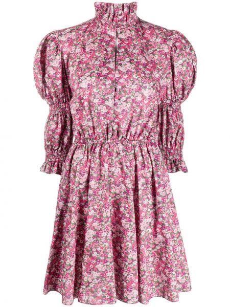 Расклешенное розовое платье мини на пуговицах с воротником Philosophy Di Lorenzo Serafini