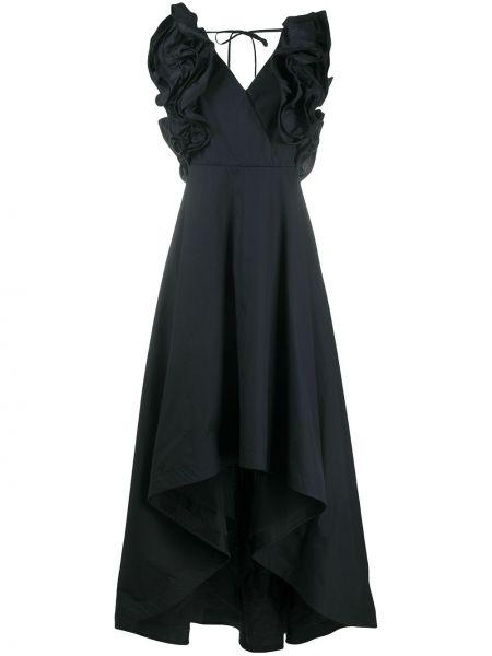 Черное платье с V-образным вырезом с оборками на молнии Sara Roka