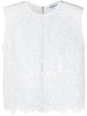 Кружевная белая блузка без рукавов Self-portrait