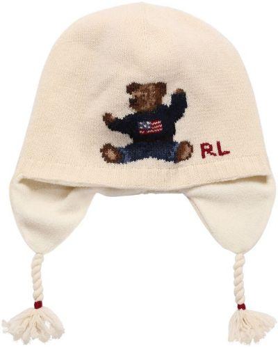 Biały wełniany kapelusz Ralph Lauren