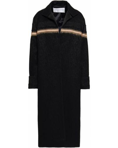 Шерстяное черное длинное пальто с карманами Amanda Wakeley