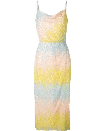 Приталенное платье миди с пайетками на бретелях Markarian