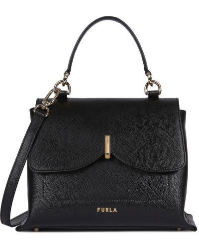 Черная сумка через плечо из натуральной кожи Furla