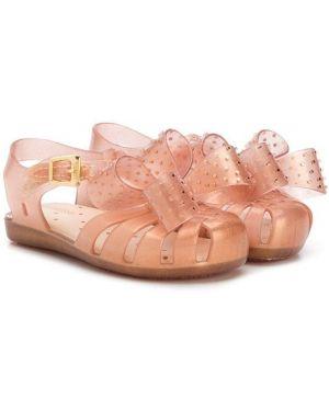 Кожаные сандалии золотые с пряжкой Mini Melissa
