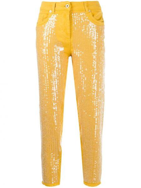 Укороченные джинсы с карманами с пайетками в стиле бохо Blumarine
