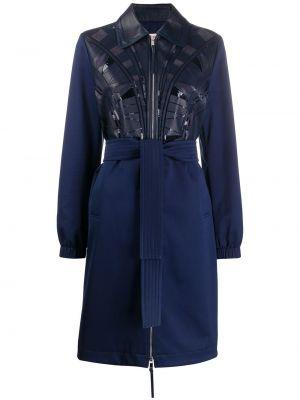 Синее кожаное пальто классическое с воротником Emilio Pucci