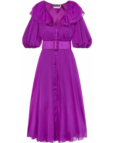 Fioletowa sukienka midi z paskiem Rotate Birger Christensen